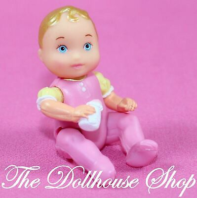 New Fisher Price Loving Family Twin Time Dollhouse Blonde Pink Baby Girl Doll