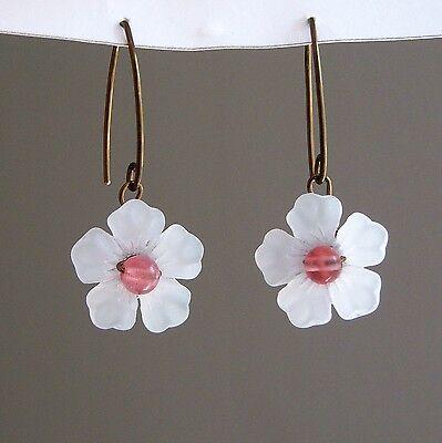 Cherry Blossom V-Hook Lucite Earrings with Cherry Quartz Centers - Custom Colors Cherry Quartz Flower Earrings