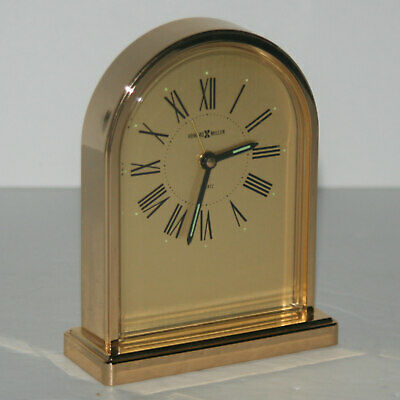 Vintage Howard Miller Brass Classic Desk Mantle Alarm Clock Quartz 4RE957 JAPAN