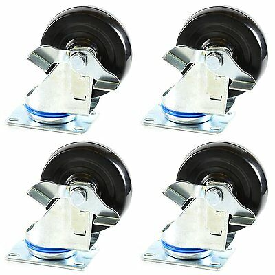 4 Pcs Hard Rubber Wheel Swivel Plate Casters With Brake234 -chrssbrre