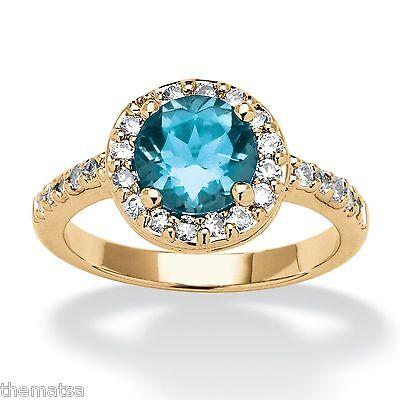 WOMEN YELLOW GOLD CZ BLUE TOPAZ DECEMBER BIRTHSTONE RING SIZE 5 6 7 8 9 10