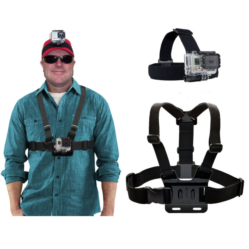 Harness Head+ Chest Strap Mount Accessories For GoPro Hero 3 4 5 6 7 8 Max 9 NEW