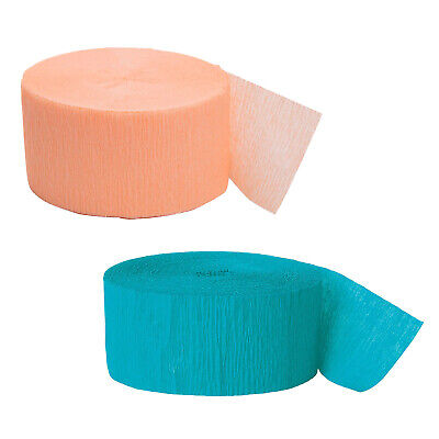 81ft Teal Crepe Paper Streamers Bundled with 81ft Coral Crepe Paper Streamers - Coral Streamers