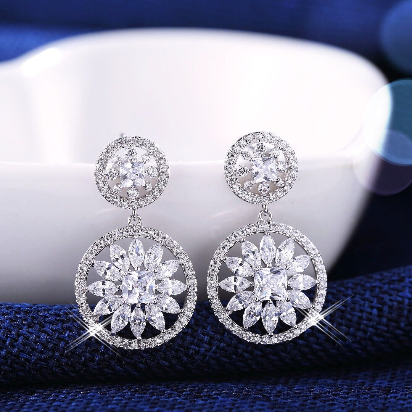 18K Yellow Gold Filled Simulated Diamond Sparkling Round 4.0 Ct Dangle Earrings