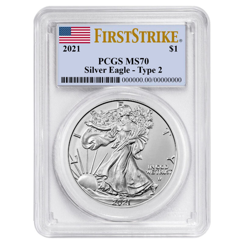 2021 $1 Type 2 American Silver Eagle PCGS MS70 FS Flag Label