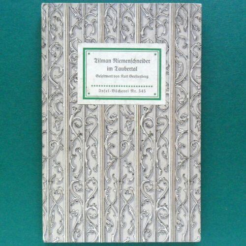 Insel Buch Nr. 545 um 1940 Tilman Riemenschneider Im Taubertal 48 Bildtafeln
