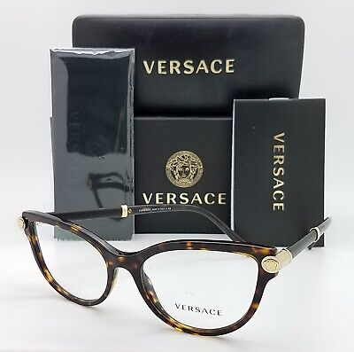 NEW Versace RX Glasses Frame VE3270Q 108 54mm Dark Havana Gold AUTHENTIC Cat Eye