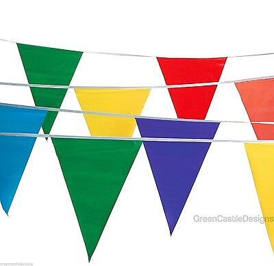 Pennant Flags 100 ft Banner String Streamers Multi Colored Party Carnival Decor - Coloured Streamers