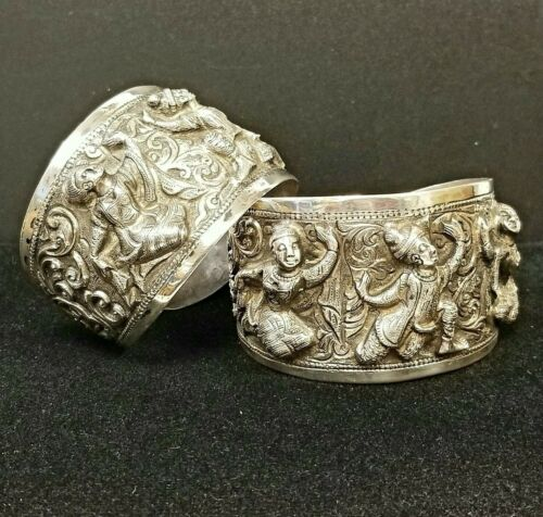 Pair of Antique BURMESE THABEIK Sterling Silver Heavy Repousse Cuff Bracelets