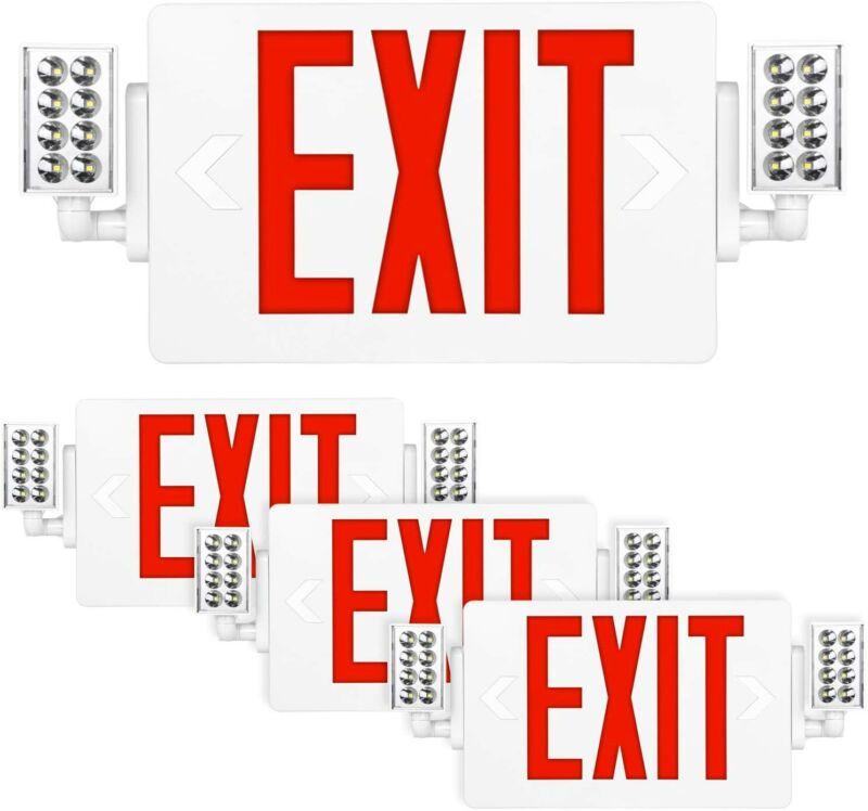 Hykolity Red Exit Sign 120-277V Double Face LED Emergency Adjustable Light 4 Pk
