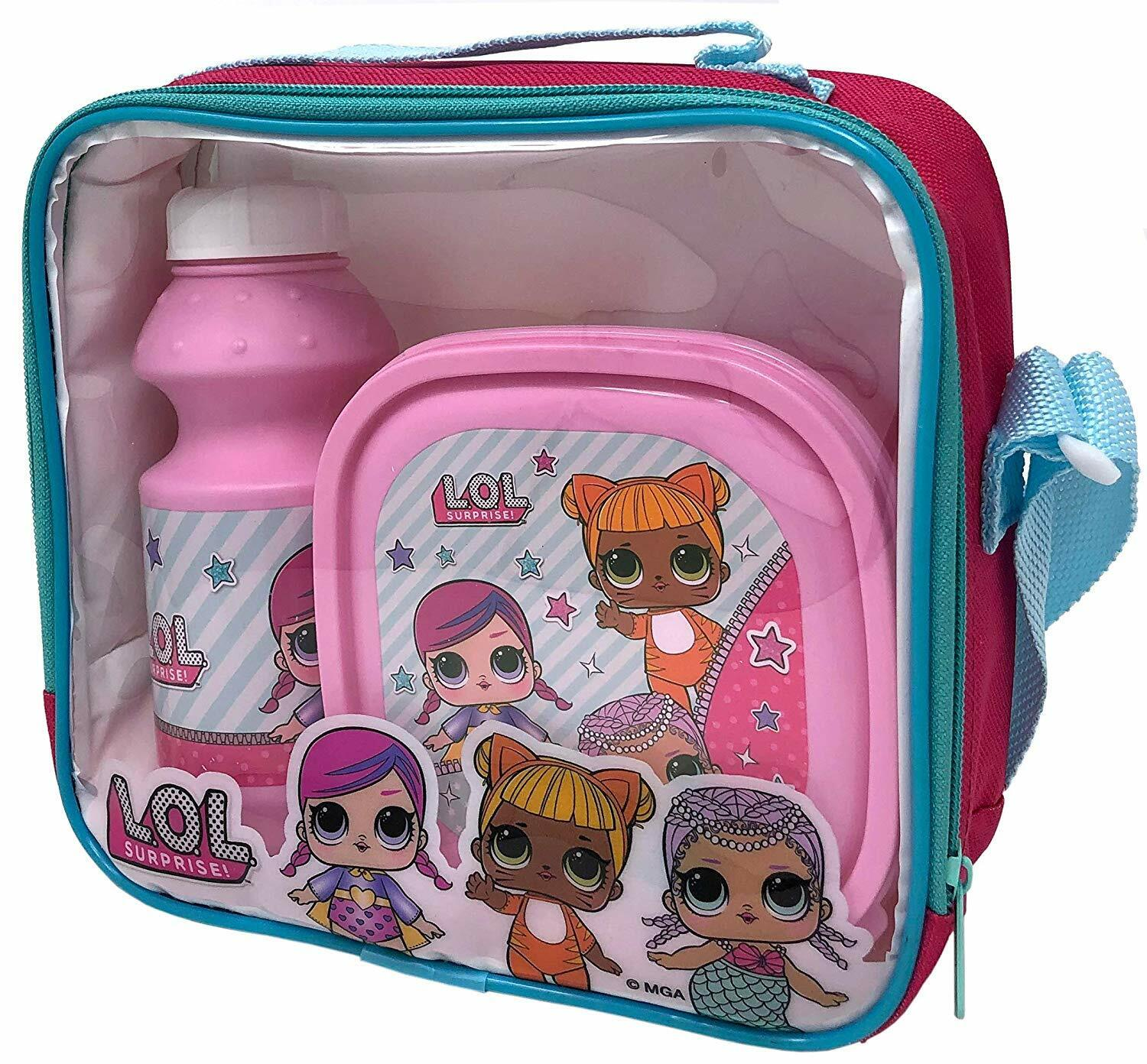 LOL Surprise! Kids 3 Piece Lunch Bag Box and Bottle Set for