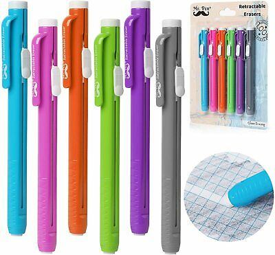 Mr. Pen Retractable Erasers Mechanical Pencil Eraser Pack Of 6assorted Color