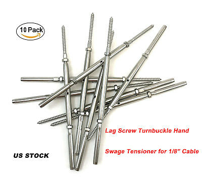 10 Pack Lag Screw Turnbuckle Hand Swage Tensioner For 18 Cable Railing T316 Us