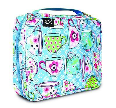 - Bible Cover Blue Teacups Large Zippered With Handle Nylon Hearts Flowers