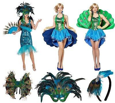 Pfau Pfauen Kostüm Kleid Paradies Vogel Tier Pfauenkostüm - Pfau Kostüm Maske