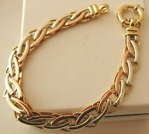 GENUINE  SOLID  9ct  Yellow  White  Rose  GOLD  3  COLOUR  GATE LINK  Bracelet