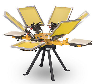 Vastex V-1000 Screen Printing Press 4 Station6 Color