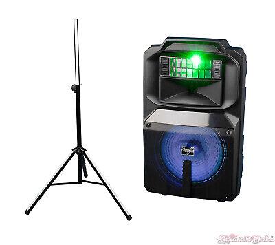 "Vocopro SoundGlow-1200 12"" Powered Speaker W/RGB Derby Light & Lighted Stand"
