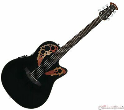 Ovation Celebrity Elite Mid-Depth Cutaway Acoustic Electric Guitar - Black
