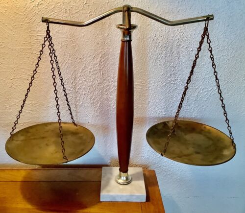 Scales of Justice Vintage Lawyer Scale Brass wood  Marble Base