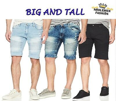MEN BIG AND TALL SOUTHPOLE JEAN SHORTS RIPPED DENIM BIKER SHORTS