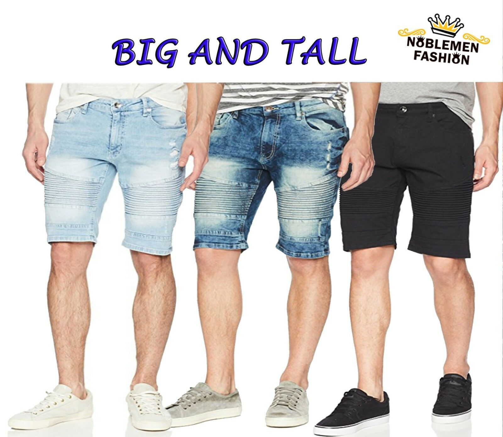 MEN BIG AND TALL SOUTHPOLE JEAN SHORTS RIPPED DENIM BIKER SH