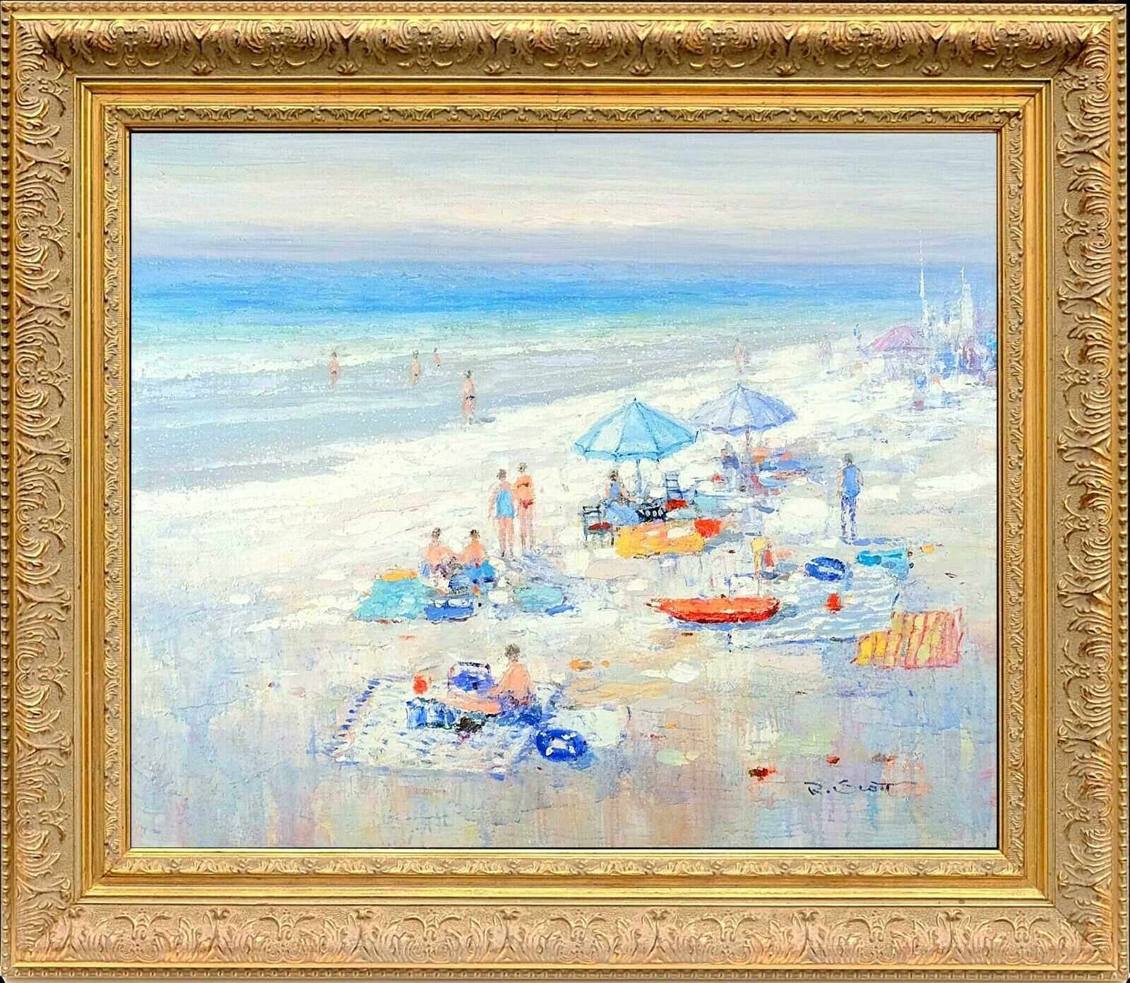 Gold Framed Oil Painting, Summer Blue Beach Scenery Sea Scape, R Scott Signed - $325.00