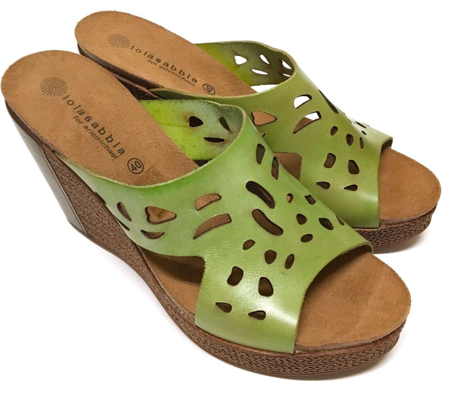 LOLA SABBIA For Eric Michael Women's Size 40 Green Peep Toe