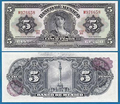 Mexico 5 Pesos P 60 k 1970 UNC BII Serie Low Shipping! Combine FREE! ( P 60k )