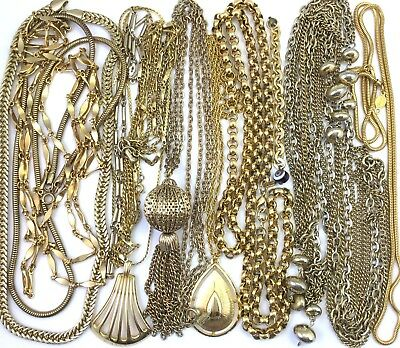 VINTAGE JEWELRY REPAIR CRAFT LOT NECKLACE TASSEL CHAIN LINK GOLD TONE METAL