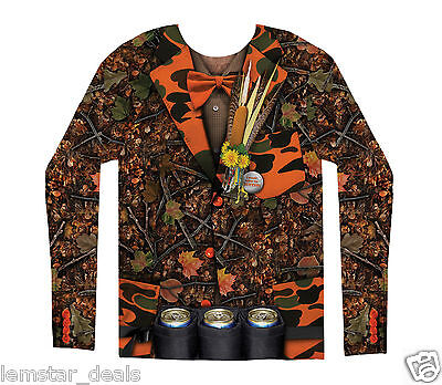 FauxReal Camo Tuxedo Long Sleeve Shirt or Halloween Costume Redneck Hunting  (Redneck Kostüme)