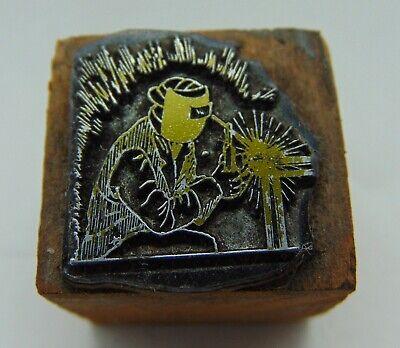 Printing Letterpress Printers Block Man Welding Metal