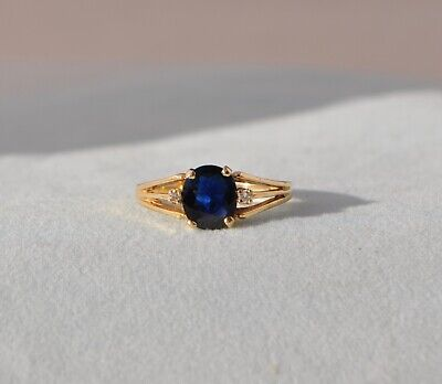 14K SOLID GOLD NATURAL SAPPHIRE & DIAMOND RING - OVAL DEEP BLUE LARGE BIG (Deep Blue Sapphire Diamond)