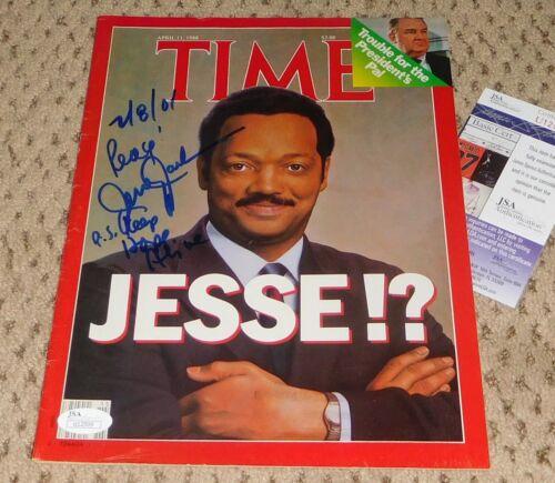 REV JESSE JACKSON SIGNED TIME MAGAZINE AUTOGRAPH JSA COA JESSIE
