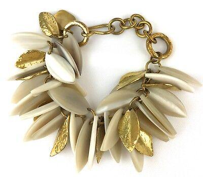 Ashley Pittman New Tanzu Light Horn Chain Leaf Bracelet Hammered Bronze