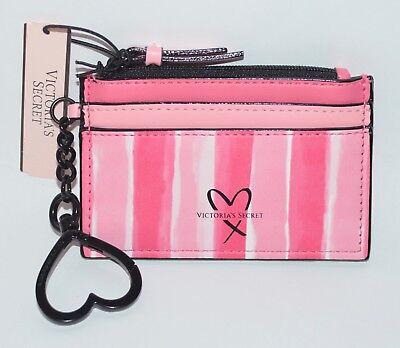 Victorias Secret Pink White Stripe Credit Card Case Keychain Wallet Coin Pouch