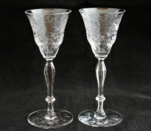 SET 2 LIBBEY ROCK SHARPE CRYSTAL CORDIAL GLASSES
