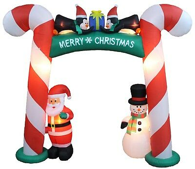 8 Foot Tall Christmas Inflatable Candy Cane Archway Santa Snowman Penguins - Christmas Archway Decoration
