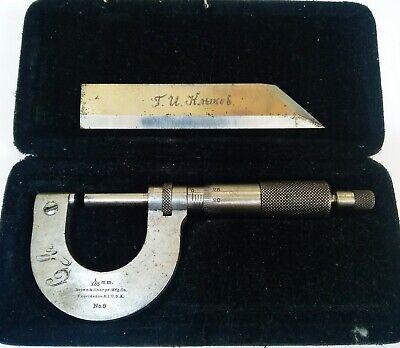Brown And Sharpe No. 8 Outside Micrometer 0-1 Thread Caliper Pat. 1902