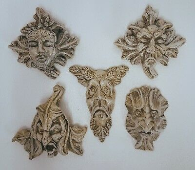 Vintage Set of 5 Gothic Medieval Green man Gargoyle Mythical Wall Plaque