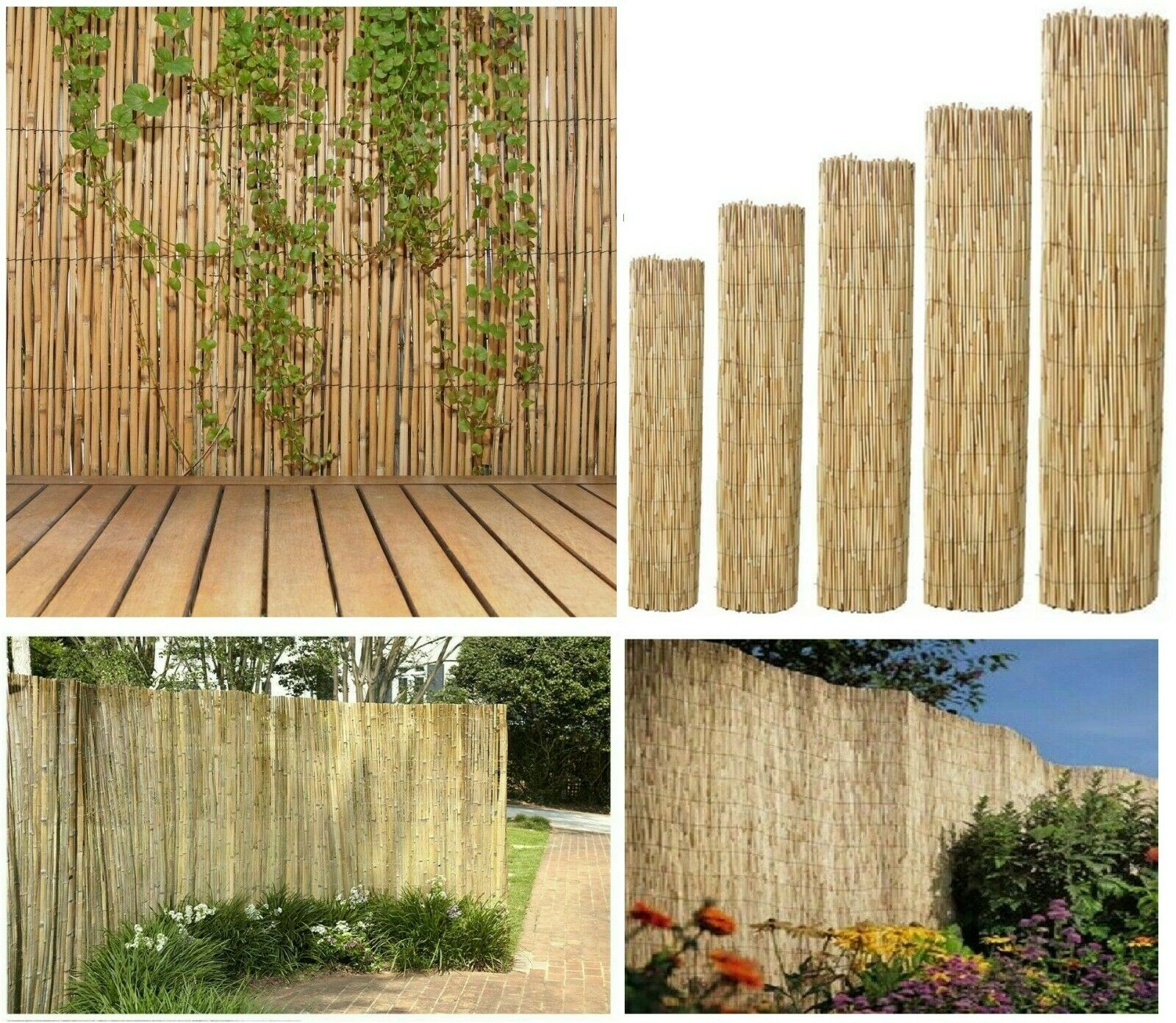 garden fence - Natural Peeled Reed Fence Screening Roll Garden Screen Fencing Panel Wooden 4m