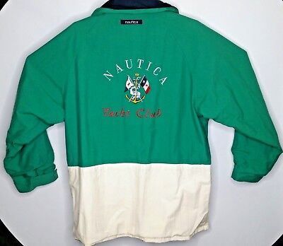 VTG 90's NAUTICA Yacht Club Embroidered Logo Reversible Parka Size XL