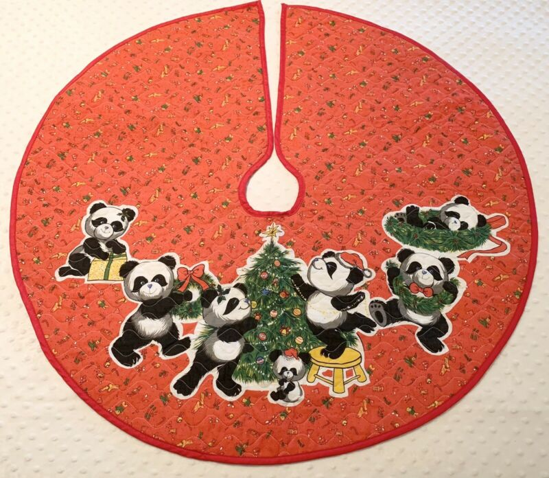 "Vintage Retro Christmas Tree Skirt Teddy Panda Bears Red Kitschy 70's 80's 34"""