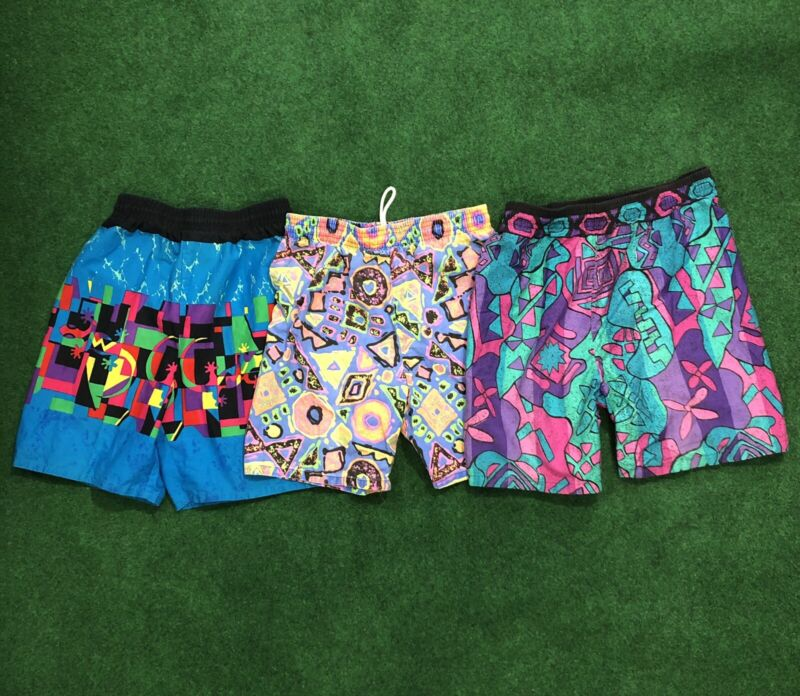 Vintage 90s Surf Sport Funky Neon Boys Toddler Swim Trunks Size Med 10/12 1990s