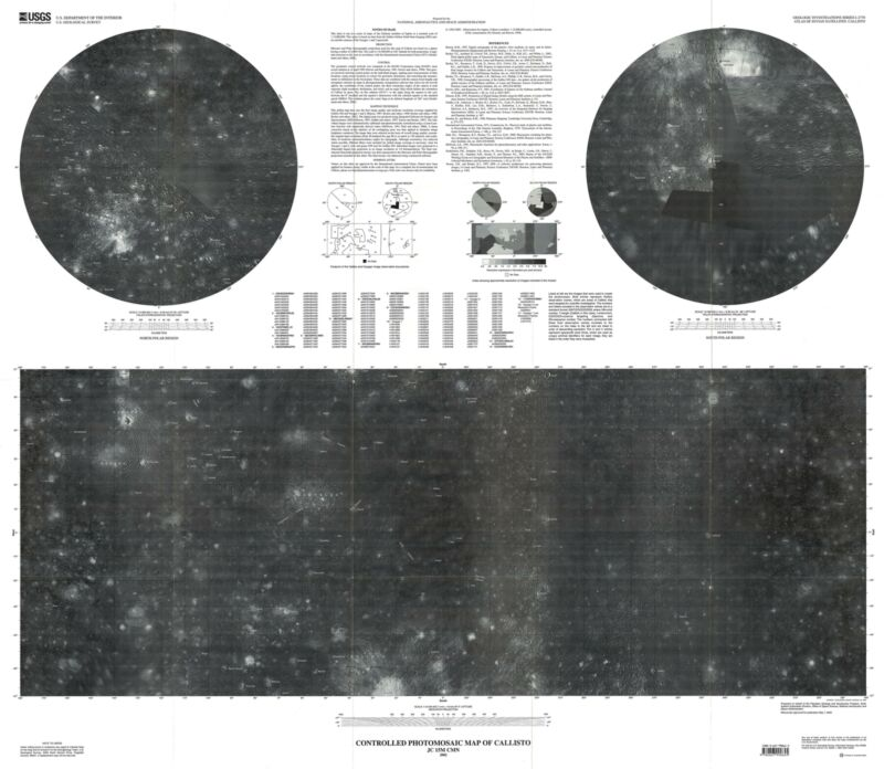 2002 U. S. Geological Survey Photomosaic Map of Callisto, Moon of Jupiter