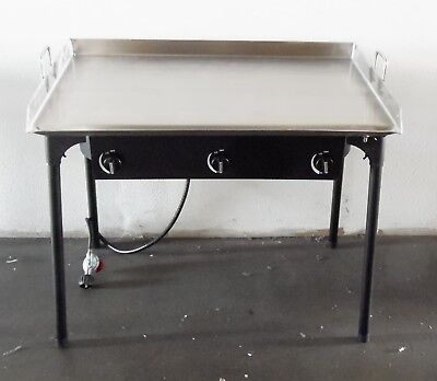 Heavy 36 X 22 Wide Stainless Steel Flat Top Griddle Grill Double Burner Stove