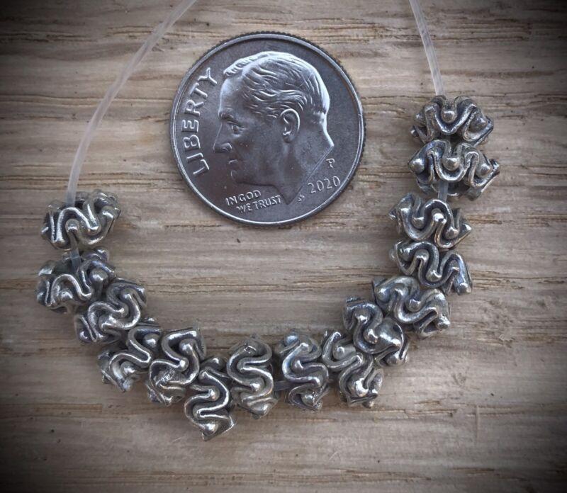 15 Hill Tribe Silver Bi-crown Beads