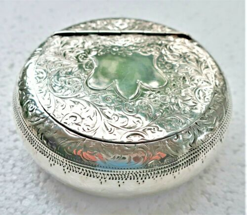 """BIG 3"""" QUALITY STERLING SILVER ENGRAVED ANTIQUE BOX 1903 ENGLAND HINGED TOBACCO"""
