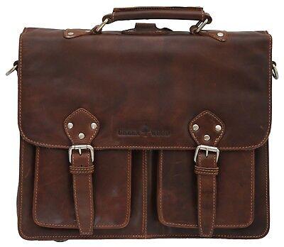 Leder Multi-tasche Rucksack (GREENWOOD® Unisex Multifunktionstasche(Aktentasche/Rucksack) Echt Leder bis 14'')