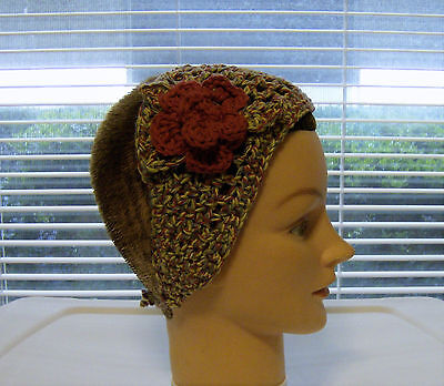 Headband/wrap--Variegated/Country Red Flower--100% Cotton--Hand Crochet-OOAK ()